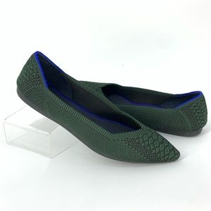 ROTHY's Retired Python Green The Point Flats 6.5